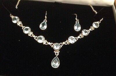 Aquamarine Sterling Silver Adjustable Necklace & Earrings - New RRP £150