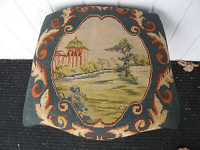 Vtg Antique Victorian Scenic Needle Point Petit Chair Seat Empire Horse Hair