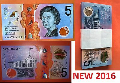 2016 $5 Banknote AA First Prefix New Generation - UNC