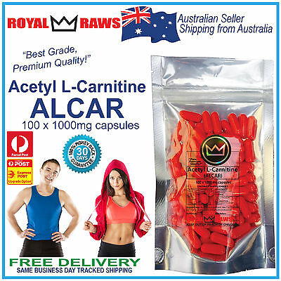 Acetyl L-Carnitine 1000mg capsules fat weight diet loss burn alcar nootropic 100