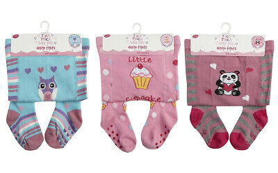 Baby Babies Girls Design Tights Panel Cotton Rich Printed Warm Comfy By TickTock