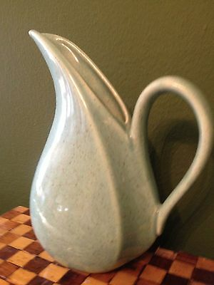 """decanter egg shell green speckled creamer unusual shape USA 6.5"""" x 5.5"""""""