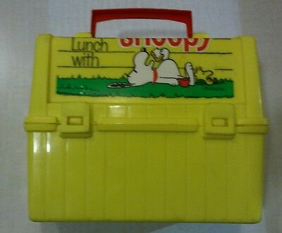 1968 Go To School Have Lunch With Snoopy Lunch Box Yellow Plastic No Thermos