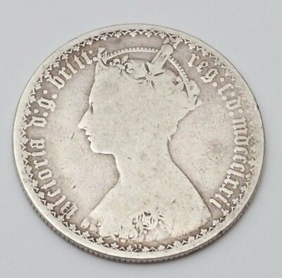 1872 Mdccclxxii Silver Gothic Florin Queen Victoria British Coin Great Britain