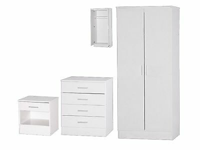 Galaxy Bedroom Set - 3 Piece Wardrobe Chest Bedside - White High Gloss