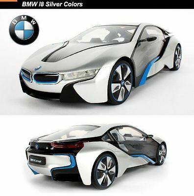 Official Bmw I8 1/14 R/c Remote Control Car Silver With Light Effects Ty012
