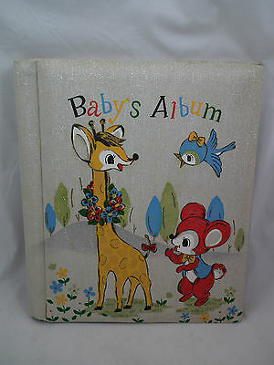 Vintage BABY'S ALBUM Blue bird, GIRAFFE, Mouse? Japan RETRO SILVER GLITTER Photo