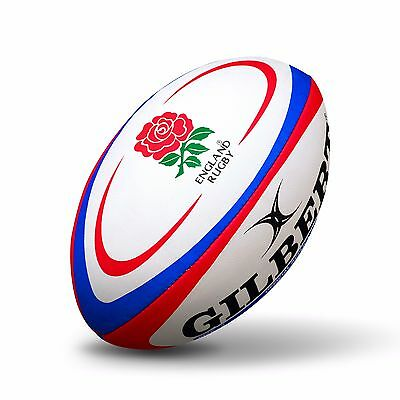 Gilbert Rugby International Replica Ball - Size 5 - White/Red EB7A