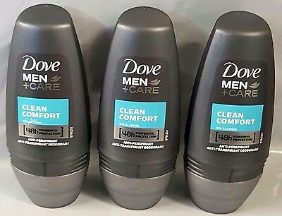 3 x 50ml Dove Men + Care CLEAN COMFORT Anti-Perspirant Deodorant Roll On New
