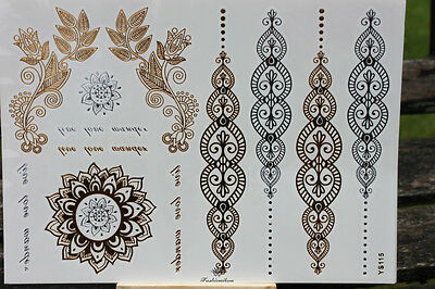 Gold Henna-Luxury Metallic Flash Temporary Tattoos Sticker YS115 - UK SELLER