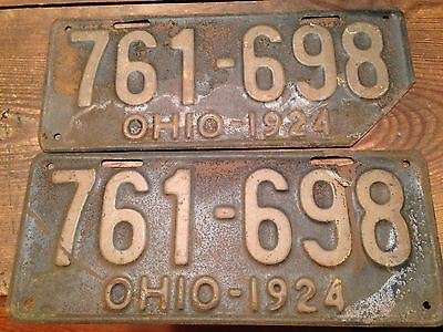 Pair Of Ohio 1924 Vintage Licence Plates