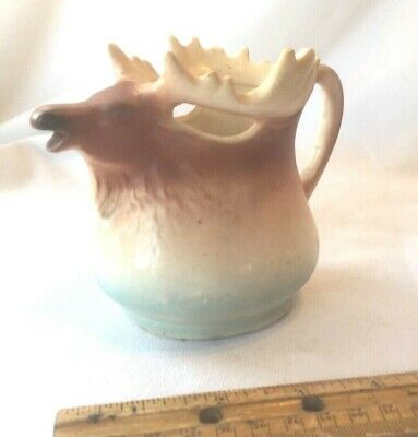 Vintage 1930s Made in Austria Figural Moose Elk Reindeer China Creamer Pitcher