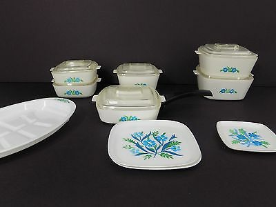 Corning Ware Casserole Play Dishes Set  Skillet Roaster Blue Flowers Chilton