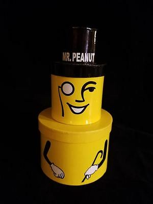 Mr. Peanut 2 part tower Christmas Holiday gift container EXCELLENT CONDITION!