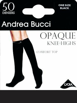 Andrea Bucci Velvet Opaque Knee High Socks 50 Denier Black, Navy or Natural
