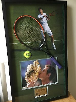 Andy Murray signed photo, racket & ball Wimbledon 2013 boxed frame display