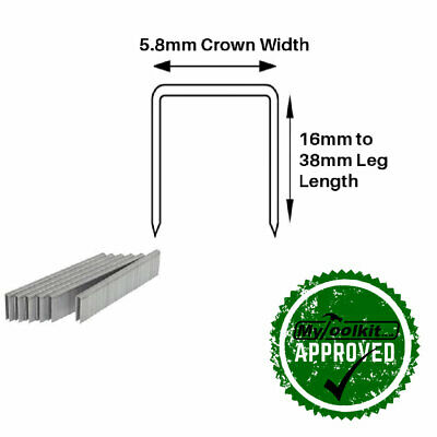 90 Series Narrow Crown Stainless Steel Staples 16mm, 20mm, 25mm, 32mm and 38mm