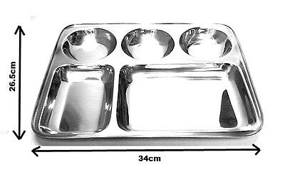 Stainless Steel Rectangle 5 Compartment Dish Indian Thali Plate Dish Camping