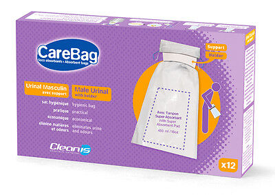 Cleanis CareBag Disposable Male Urinal Bag with Holder (Pack of 12 Bags)