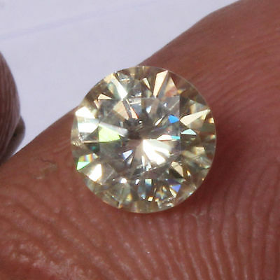REAL MOISSANITE-1.47  ct 7.71 MM WHITE YELLOW  ROUND DIAMOND CUT  LOOSE TESTED
