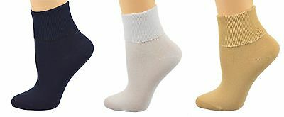 Sierra Socks Women's 3 Pair 100% Cotton Ankle Turn Cuff Seamless Toe W16421