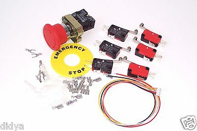 CNC Limit Switch and Emergency Stop Button Kit + TB6560 Limit Cable DIY CNC