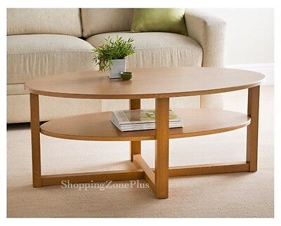 New Solid Wood Oak Finish Contemporary Oval Shaped Coffee Table  With Undershelf