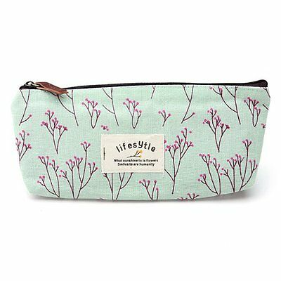 Countryside Flower Floral Pencil Pen Case Cosmetic Makeup Bag TS