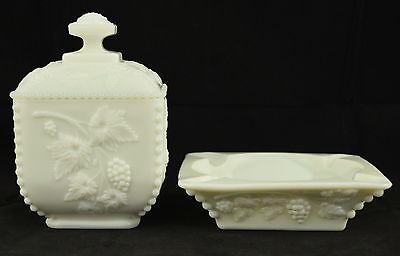 Lot of two Westmoreland Paneled Grape Milk Glass Pieces Ashtray Covered Bowl
