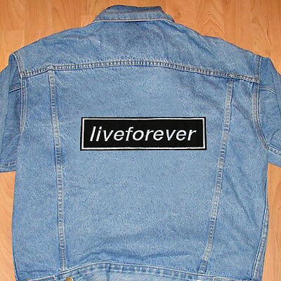 Live Forever Oasis Band Iron/sew On Black Patch New
