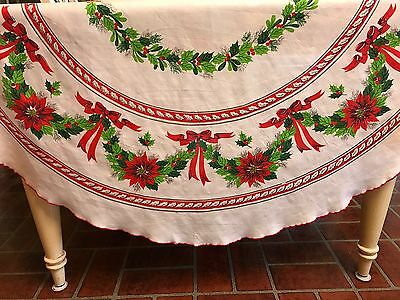 Vintage Cotton Oval Christmas Tablecloth