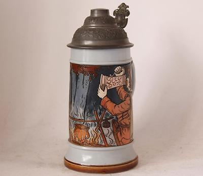Antique German Mettlach V&B Etched Beer Stein #2922 Outlaws at Campfire c.1903