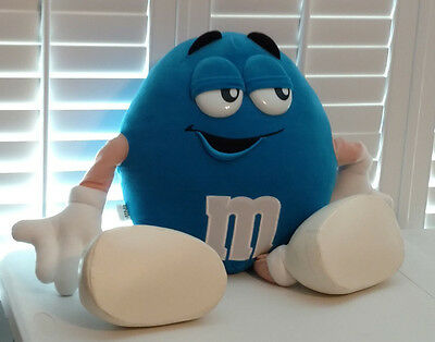 1997 M&M's Blue Character Plush Pillow Stuffed Animal 24 Inches Licensed