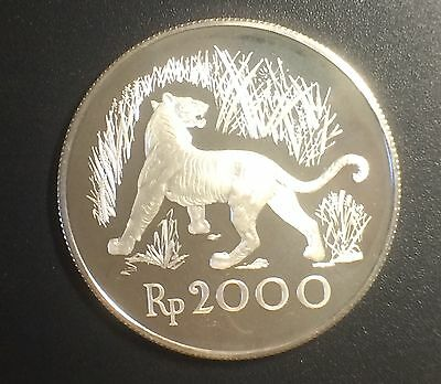 Indonesia 2000 Rupiah 1974 Java Tiger Low Mintage Proof Silver Coin