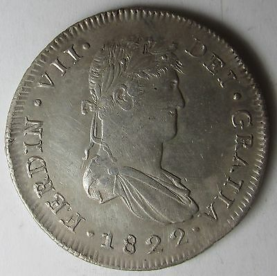 Mexico War of Independence 1822 Zs-RG 8 Reales, Ferdinand VII, Zacatecas Crown
