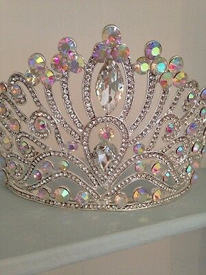 10 Cms High Silver Tiara Crown . AB Crystal .Pageant Crown/wedding / Stage Prop