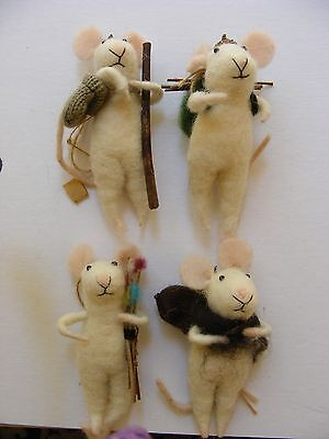 felted ornaments (4 mice)
