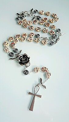 Day of the dead Collectable Sugar Skull Biker Gothic Vamp Rosary Necklace Ankh