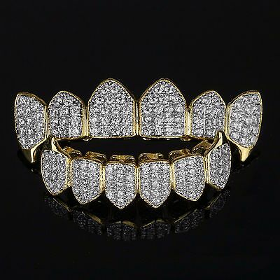 18K GOLD & SILVER Plated High Quality CZ Fang Top & Bottom GRILLZ Mouth Teeth