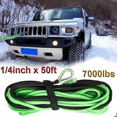 Green Synthetic Winch Rope Line Cable 1/4''x50' 7000 LBs With Rock Guard For ATV