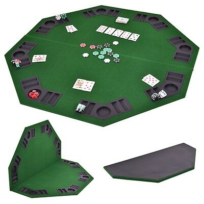 "48"" Octagon 8 Player Folding Poker Table Top & Carrying Case Green Portable New"