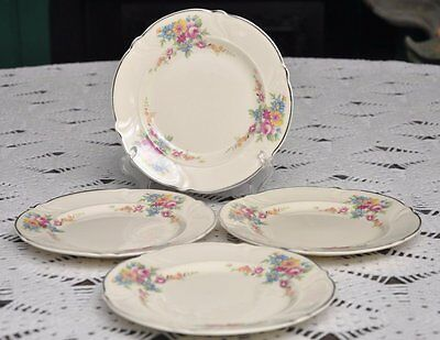 FOUR Taylor Smith Taylor TST 1542 Floral Sprays Bread Plates pink rose blue 6.25