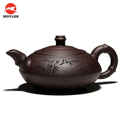 280ml/350ml Authentic Redware Manual Tea Pot Old Purple Clay Print Bamboo Teapot