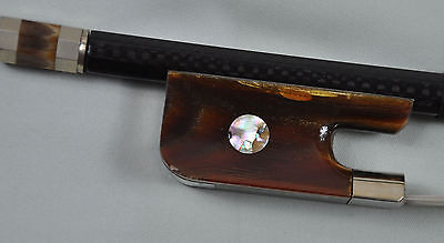New French Carbon Fiber Double Bass Bow ox horn Frog Silver mounted 4/4 F67