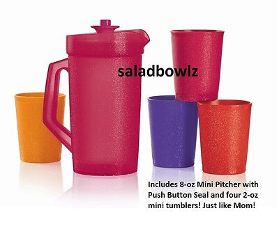 TUPPERWARE BE DAZZLED MINI SERVING PLAY SET Pitcher Tumblers Sparkle Kids fREEsH