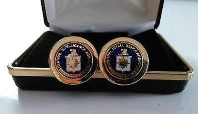 CIA CENTRAL INTELLIGENCE AGENCY Cuff  Links White & Blue Insignia with Gold Tone
