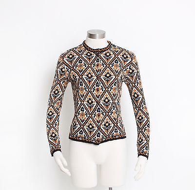 Vintage 60s Sweater - CATALINA Jacquard Wool Knit Floral Fitted Cardigan - Small