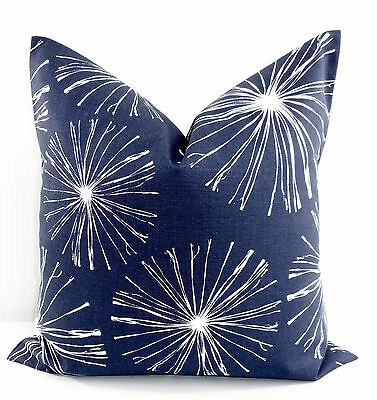 Vintage Indigo Pillow Cover. Sparks  Blue & White Cotton.Made in USA.Select size