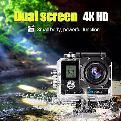 Waterproof  2'' TFT Action Sport Camera 16MP Ultra HD 4K Dual Screen WiFi DV CAM