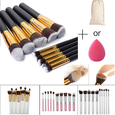 10Pcs Pro Brosse de Maquillage Fond de Teint Blush Pinceaux + 1Pc Powder Puff